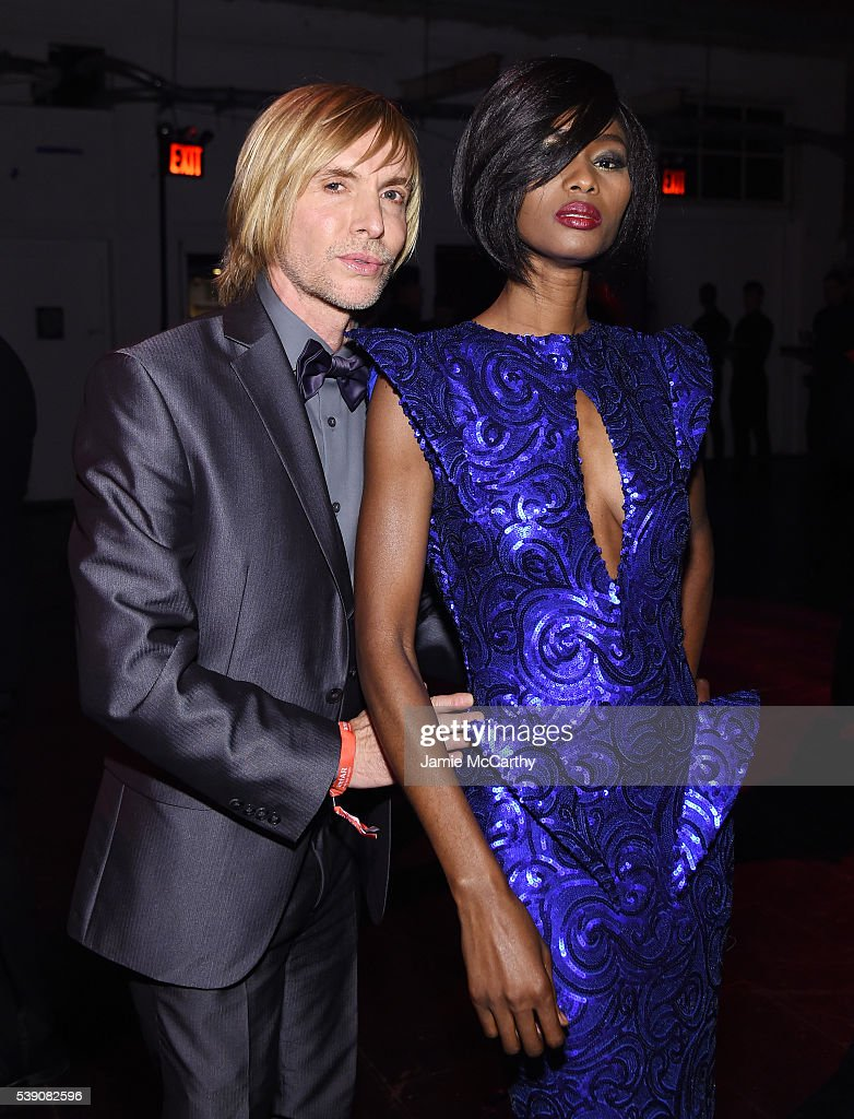 Designer Marc Bouwer and model Hawa Diawara attend the 7th Annual amfAR Inspiration Gala at Skylight at Moynihan Station on June 9 2016 in New York...