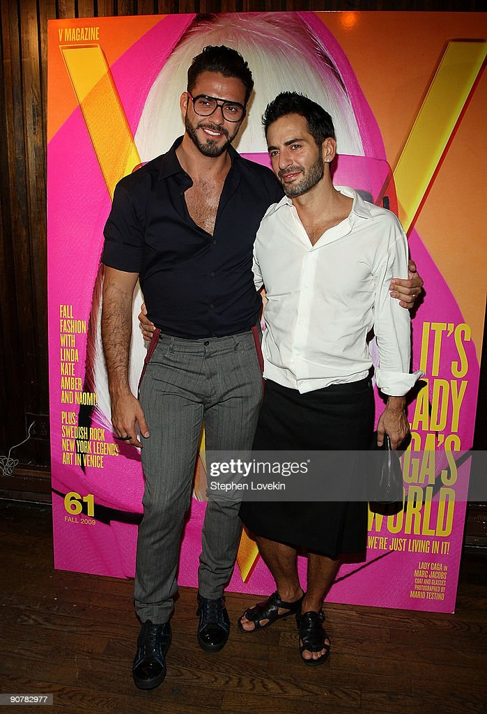 Designer Marc Jacobs (R) and Lorenzo Martone attend Lady Gaga and the launch of V61 hosted by V Magazine, Marc Jacobs and Belvedere Vodka on September 14, 2009 in New York City.