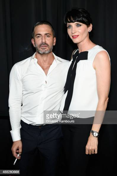 Designer Marc Jacobs and Michele Hicks backstage at the Marc Jacobs fashion show during MercedesBenz Fashion Week Spring 2015 at Park Avenue Armory...