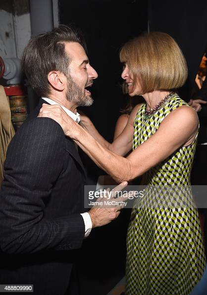Designer Marc Jacobs greets Anna Wintour at the Marc Jacobs Spring 2016 fashion show during New York Fashion Week at Ziegfeld Theater on September 17...