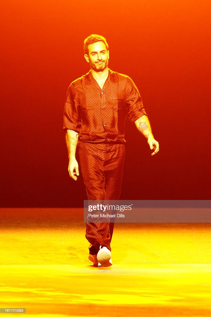 Designer <a gi-track='captionPersonalityLinkClicked' href=/galleries/search?phrase=Marc+Jacobs+-+Fashion+Designer&family=editorial&specificpeople=4190324 ng-click='$event.stopPropagation()'>Marc Jacobs</a> walks the runway at the <a gi-track='captionPersonalityLinkClicked' href=/galleries/search?phrase=Marc+Jacobs+-+Fashion+Designer&family=editorial&specificpeople=4190324 ng-click='$event.stopPropagation()'>Marc Jacobs</a> Fall 2013 fashion show during Mercedes-Benz Fashion Week at Lexington Avenue Armory on February 11, 2013 in New York City.
