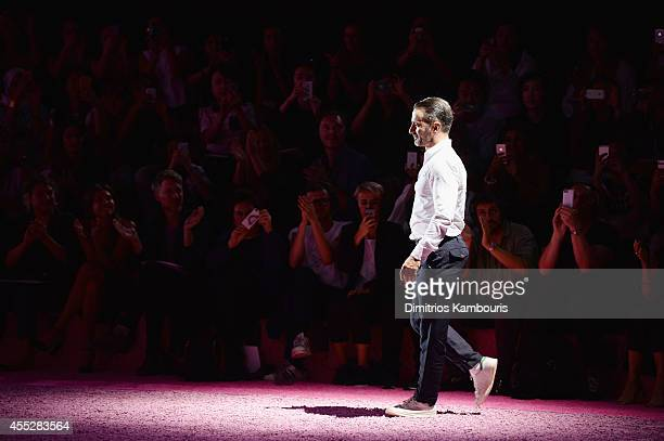 Designer Marc Jacobs walks the runway at the Marc Jacobs fashion show during MercedesBenz Fashion Week Spring 2015 at Park Avenue Armory on September...