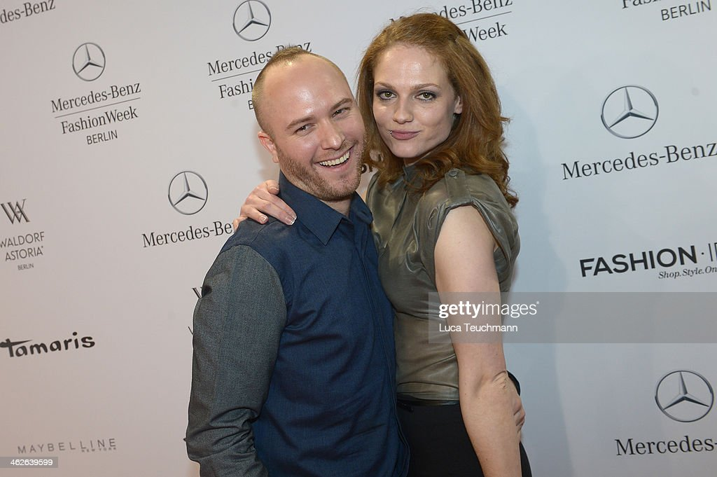 Designer Marc Stone and Isabella Vinet attend the Marc Stone show during Mercedes-Benz Fashion Week Autumn/Winter 2014/15 at Brandenburg Gate on January 14, 2014 in Berlin, Germany.