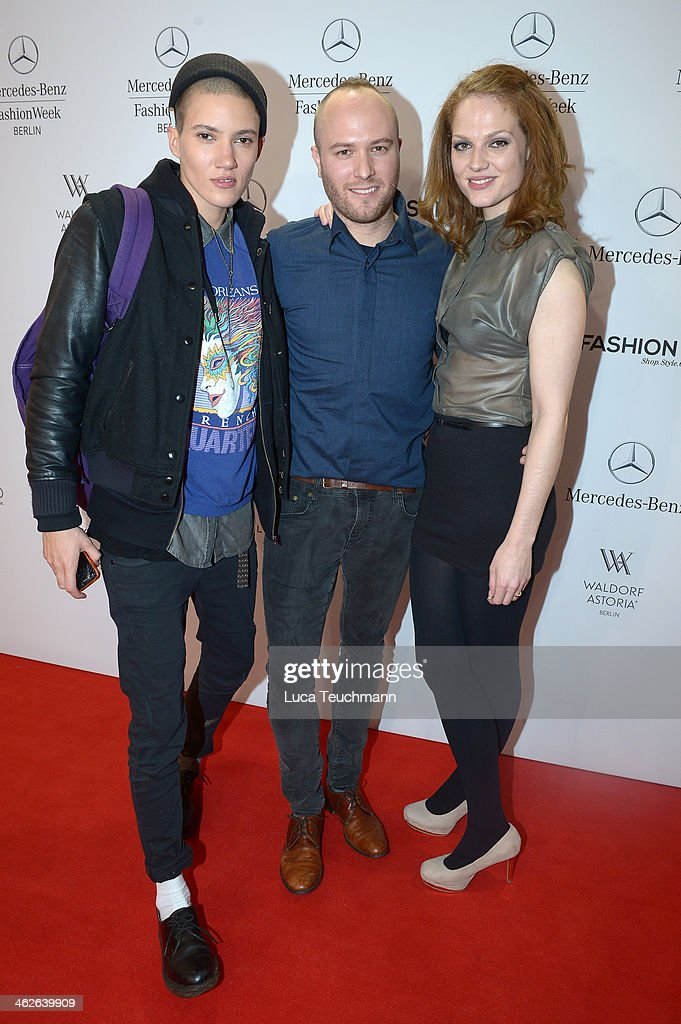 Designer Marc Stone (C) and Isabella Vinet attend the Marc Stone show during Mercedes-Benz Fashion Week Autumn/Winter 2014/15 at Brandenburg Gate on January 14, 2014 in Berlin, Germany.