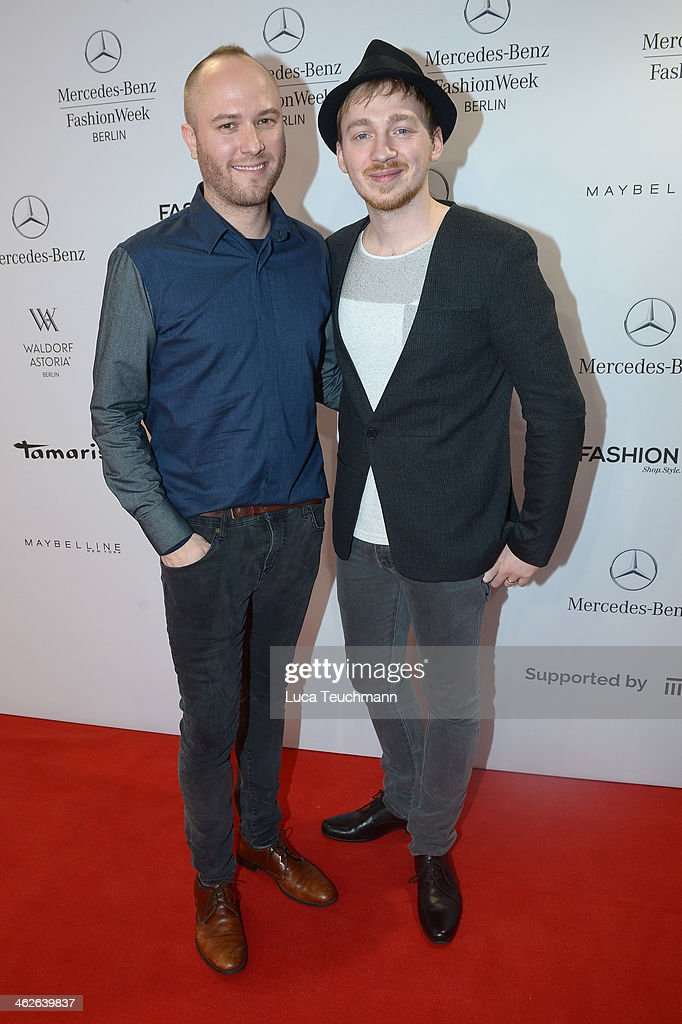 Designer Marc Stone and Timo Mewes attend the Marc Stone show during Mercedes-Benz Fashion Week Autumn/Winter 2014/15 at Brandenburg Gate on January 14, 2014 in Berlin, Germany.