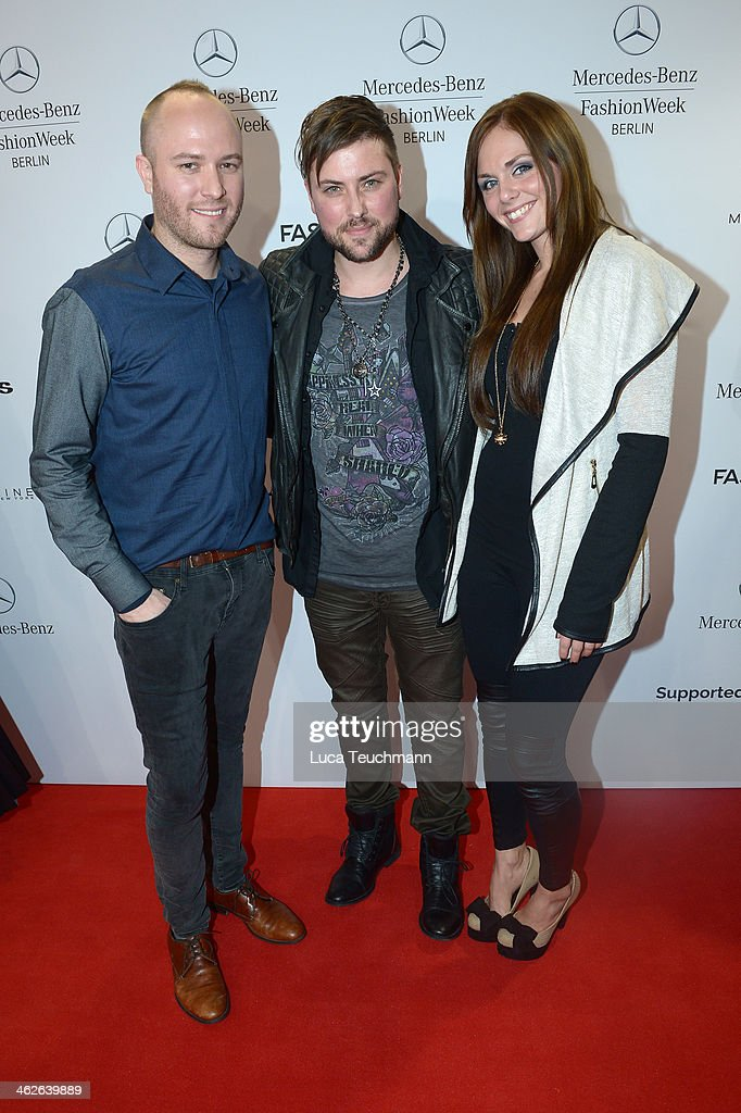 Designer Marc Stone, Felix von Jascheroff and Lisa Stein attend the Marc Stone show during Mercedes-Benz Fashion Week Autumn/Winter 2014/15 at Brandenburg Gate on January 14, 2014 in Berlin, Germany.