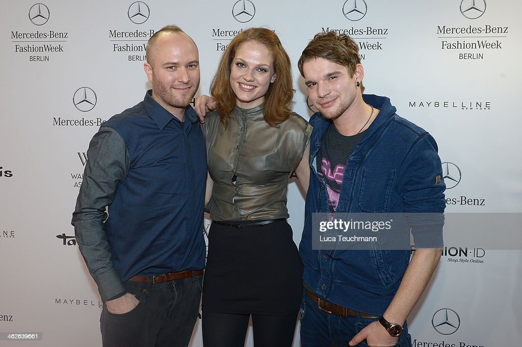 Designer Marc Stone, Isabella Vinet and Tobias Schenke attend the Marc Stone show during Mercedes-Benz Fashion Week Autumn/Winter 2014/15 at Brandenburg Gate on January 14, 2014 in Berlin, Germany.