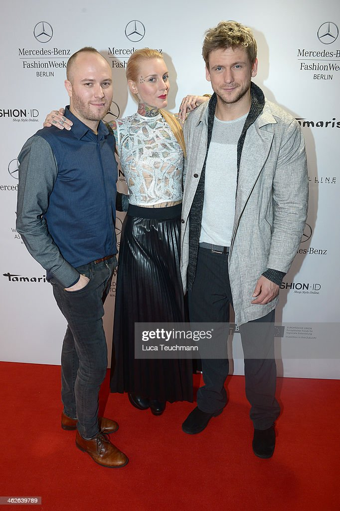 Designer Marc Stone, Lexy Hell and Steve Windolf attend the Marc Stone show during Mercedes-Benz Fashion Week Autumn/Winter 2014/15 at Brandenburg Gate on January 14, 2014 in Berlin, Germany.