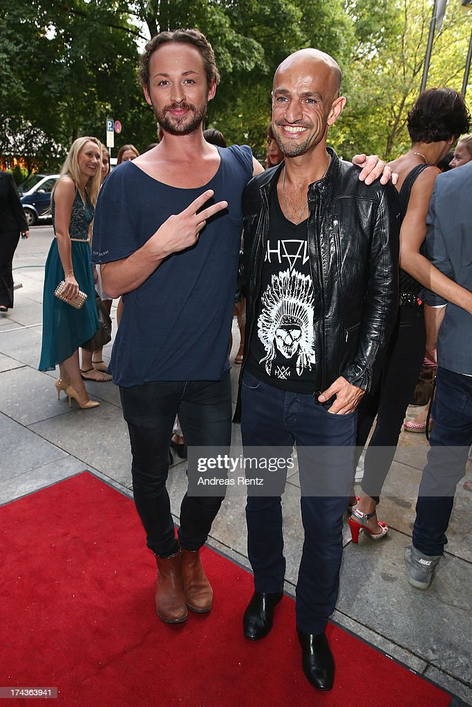 Designer Marcel Ostertag and Peyman Amin attend the Marcel Ostertag fashion show at Charles Hotel on July 24, 2013 in Munich, Germany.