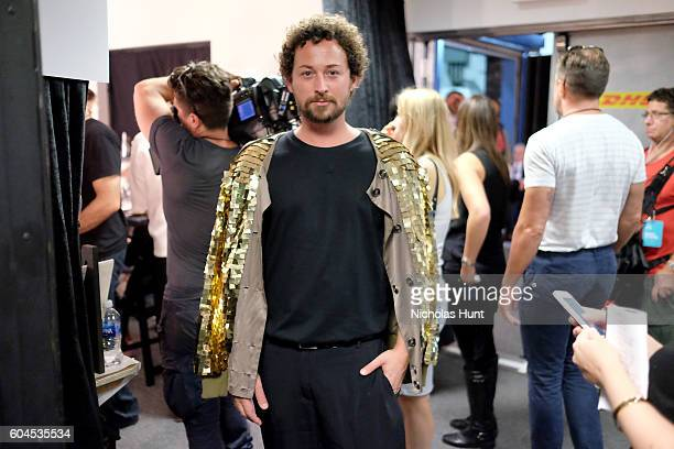 Designer Marcel Ostertag backstage before the Marcel Ostertag fashion show during New York Fashion Week September 2016 at The Gallery Skylight at...