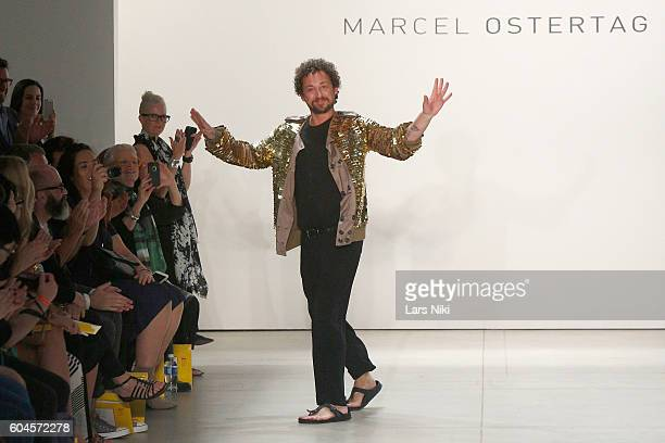 Designer Marcel Ostertag greets the audience from the runway during Marcel Ostertag S/S 2017 Collection at The Gallery at Skylight Clarkson Sq on...