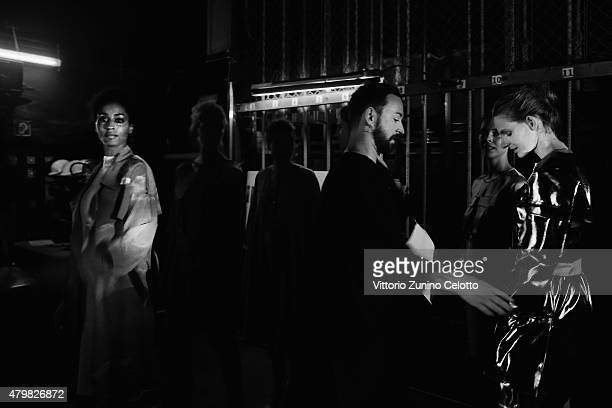 Designer Marcel Ostertag is seen backstage ahead of the Marcel Ostertag show during the MercedesBenz Fashion Week Berlin Spring/Summer 2016 at...