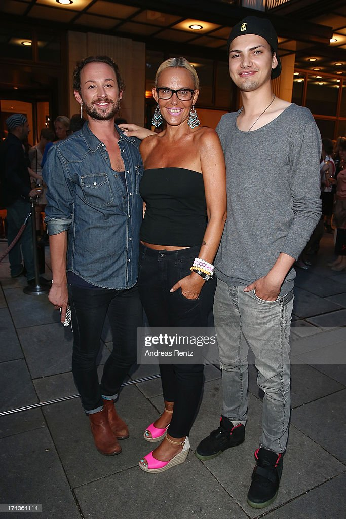 Designer Marcel Ostertag, Natascha Ochsenknecht and her son Jimi Blue Ochsenknecht attend the Marcel Ostertag fashion show at Charles Hotel on July 24, 2013 in Munich, Germany.