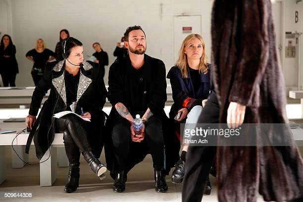 Designer Marcel Ostertag oversees activity at Marcel Ostertag Fall 2016 during New York Fashion Week The Shows at The Gallery Skylight at Clarkson...