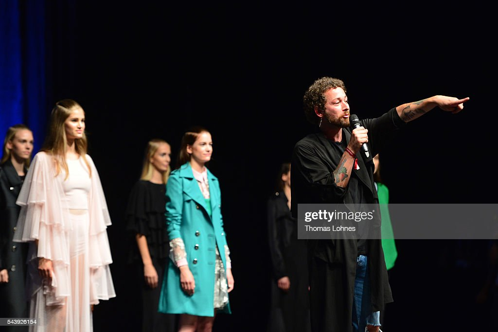 Designer Marcel Ostertag speaks at the Marcel Ostertag show during the Mercedes-Benz Fashion Week Berlin Spring/Summer 2017 at Admiralspalast on June 30, 2016 in Berlin, Germany.