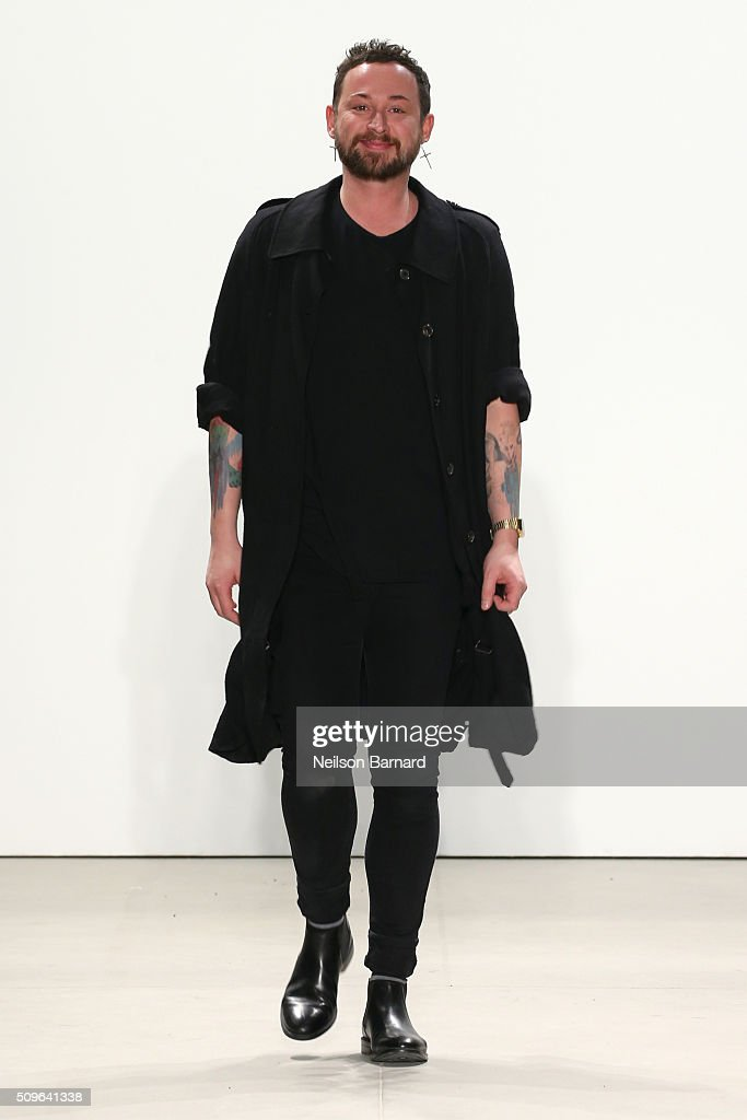 Designer, <a gi-track='captionPersonalityLinkClicked' href=/galleries/search?phrase=Marcel+Ostertag+-+Fashion+Designer&family=editorial&specificpeople=4594209 ng-click='$event.stopPropagation()'>Marcel Ostertag</a>, walks the runway at <a gi-track='captionPersonalityLinkClicked' href=/galleries/search?phrase=Marcel+Ostertag+-+Fashion+Designer&family=editorial&specificpeople=4594209 ng-click='$event.stopPropagation()'>Marcel Ostertag</a> Fall 2016 during New York Fashion Week: The Shows at The Gallery, Skylight at Clarkson Square on February 11, 2016 in New York City.
