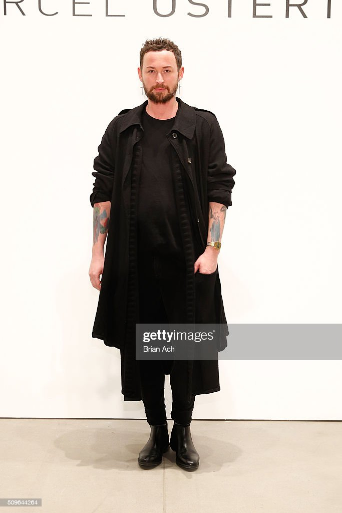 Designer, Marcel Ostertag, walks the runway at Marcel Ostertag Fall 2016 during New York Fashion Week: The Shows at The Gallery, Skylight at Clarkson Square on February 11, 2016 in New York City.