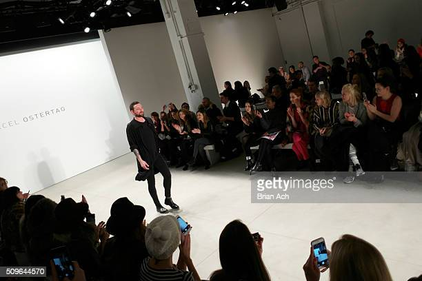 Designer Marcel Ostertag walks the runway at Marcel Ostertag Fall 2016 during New York Fashion Week The Shows at The Gallery Skylight at Clarkson...