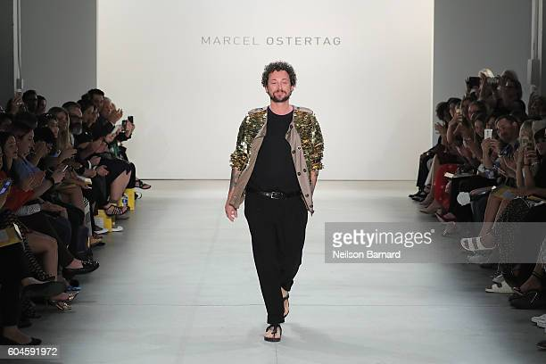 Designer Marcel Ostertag walks the runway for the Marcel Ostertag fashion show during New York Fashion Week September 2016 at The Gallery Skylight at...