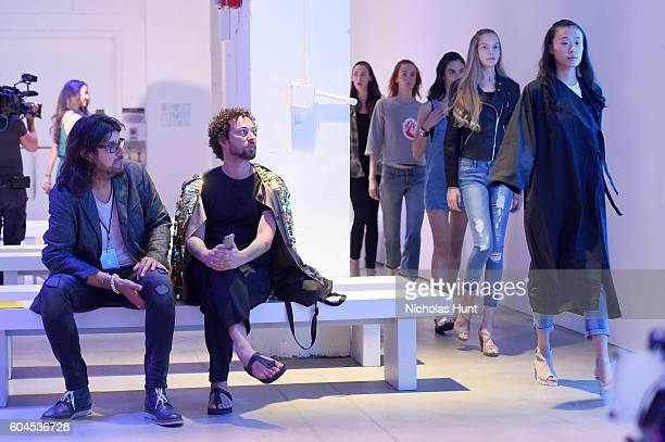 Designer Marcel Ostertag watches the rehearsal before the Marcel Ostertag fashion show during New York Fashion Week September 2016 at The Gallery...
