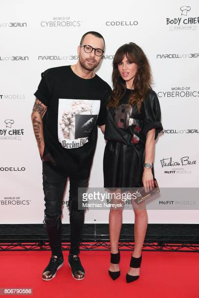 Designer Marcell von Berlin and Natalia Avelon during the Marcell von Berlin 'Genesis' collection presentation on July 3 2017 in Berlin Germany