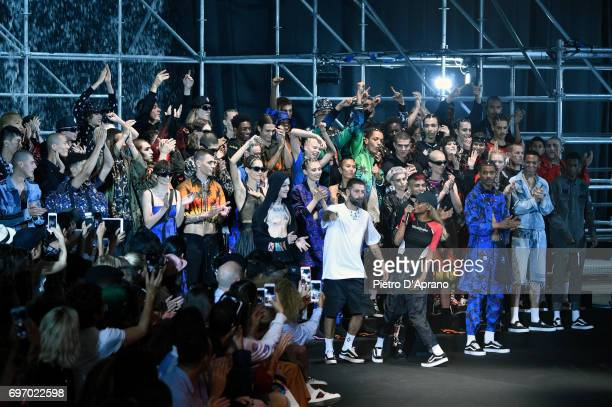Designer Marcelo Burlon and models acknowledge the applause of the audience at the Marcelo Burlon County Of Milan show during Milan Men's Fashion...