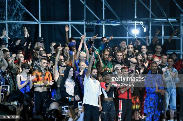 Designer Marcelo Burlon and models acknowledges the applause of the audience at the Marcelo Burlon County Of Milan show during Milan Men's Fashion...