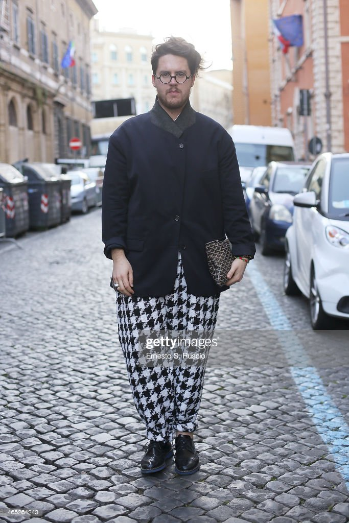 Designer Marco Ferra wears Yves Saint Laurent trousers, Margiela Jacket on day 3 Rome Fashion Week Spring/Summer 2014, on January 26, 2014 in Rome, Italy.