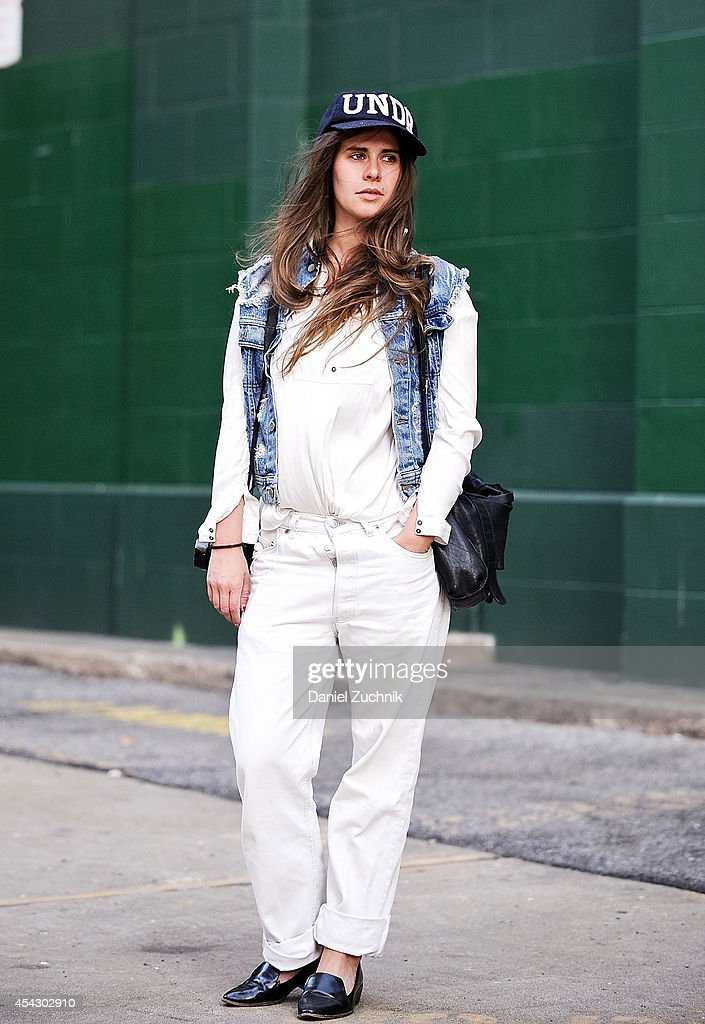 Designer Maren is seen around Soho wearing Levis jeans, Lee vest and a Cos bag on August 28, 2014 in New York City.