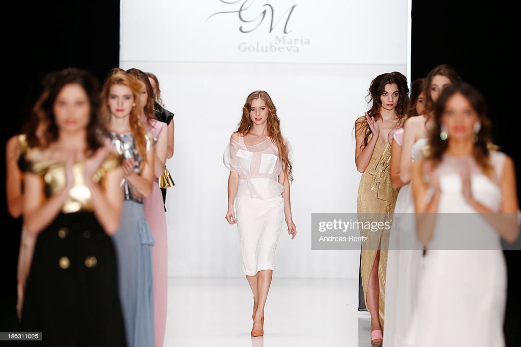 Designer Maria Golubeva on the runway at the Maria Golubeva show during Mercedes-Benz Fashion Week Russia S/S 2014 on October 30, 2013 in Moscow, Russia.