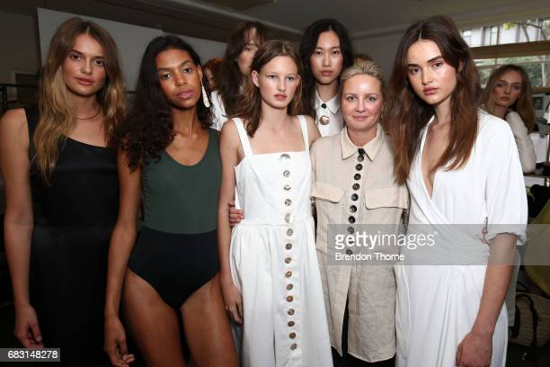 Designer Marina Afonina of Albus Lumen poses with models during the Albus Lumen show at MercedesBenz Fashion Week Resort 18 Collections at La Porte...