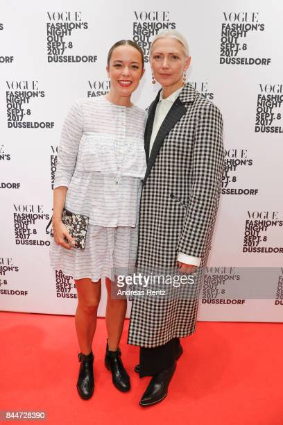 Designer Marina Hoermanseder and editorinchief VOGUE Germany Christiane Arp attend the VOGUE Fashion's Night Out Duesseldorf on September 8 2017 in...