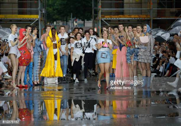 Designer Marina Hoermanseder walks the runway at the Marina Hoermanseder show during the Berliner Mode Salon Spring/Summer 2018 at Kronprinzenpalais...