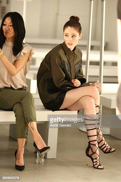 Designer Marissa Web and Model Coco Rocha prepare for the Marissa Webb show during New York Fashion Week The Shows September 2016 at The Gallery...