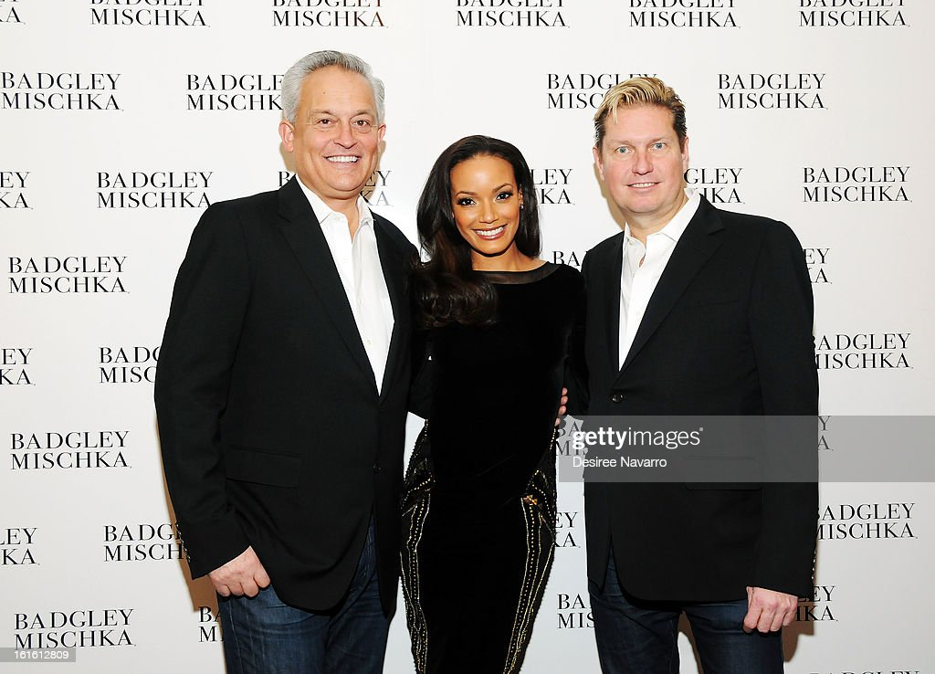 Designer Mark Badgley, model <a gi-track='captionPersonalityLinkClicked' href=/galleries/search?phrase=Selita+Ebanks&family=editorial&specificpeople=619483 ng-click='$event.stopPropagation()'>Selita Ebanks</a> and designer <a gi-track='captionPersonalityLinkClicked' href=/galleries/search?phrase=James+Mischka&family=editorial&specificpeople=642521 ng-click='$event.stopPropagation()'>James Mischka</a> pose backstage for photos at Badgley Mischka during Fall 2013 Mercedes-Benz Fashion Week at The Theatre at Lincoln Center on February 12, 2013 in New York City.