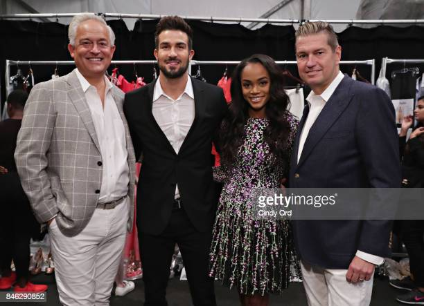 Designer Mark Badgley TV personality Bryan Abasolo TV personality Rachel Lindsay and designer James Mischka pose for a photo backstage at the Badgley...