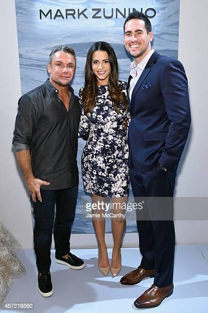 Designer Mark Zunino television personalities Andi Dorfman and Josh Murray attend front row at The Mark Zunino For Kleinfeld 2015 Runway Show at...