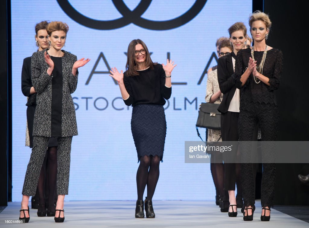Designer Marlene Abraham appears on the runway after her Mayla show at Mercedes-Benz Stockholm Fashion Week A/W 13 at the Mercedes-Benz Fashion Pavilion on January 28, 2013 in Stockholm, Sweden.