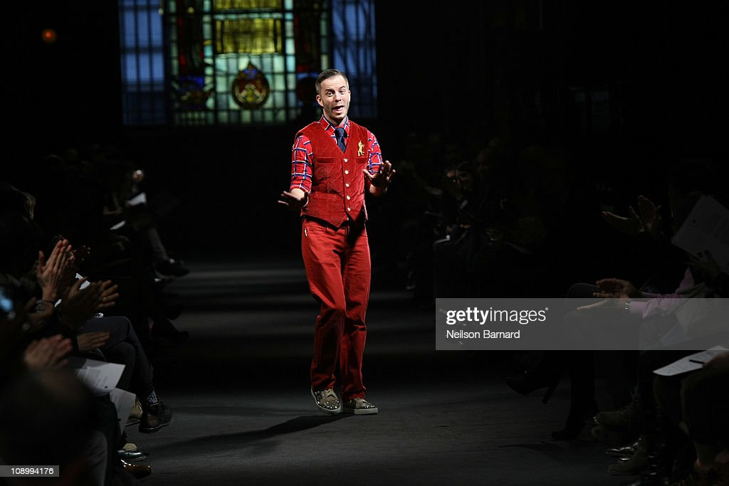 Designer Marlon Gobel walks the runway at the Marlon Gobel Fall 2011 fashion show during MercedesBenz Fashion Week at the Park Avenue Armory on...