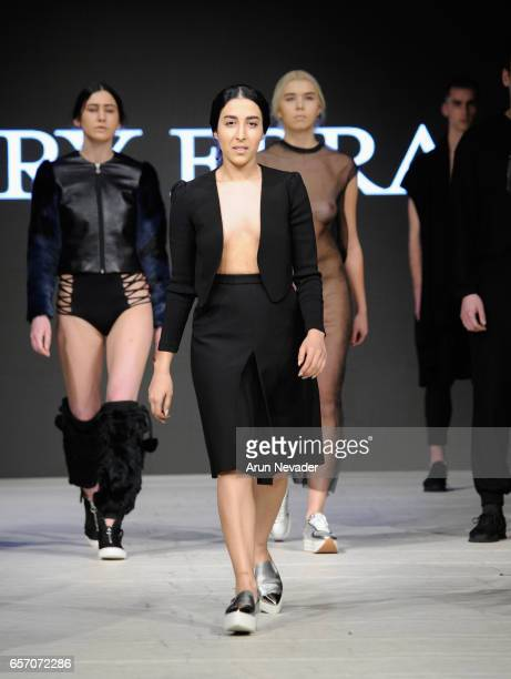 Designer Mary Ebra walks the runway during day four of Vancouver Fashion Week Fall/Winter 2017 at Chinese Cultural Centre of Greater Vancouver on...