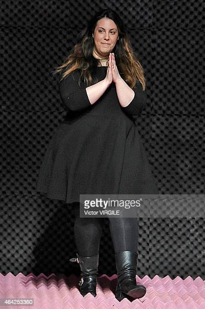 Designer Mary Katrantzou walks the runway at the Mary Katrantzou show during London Fashion Week Fall/Winter 2015/16 at Royal Horticultural Halls on...