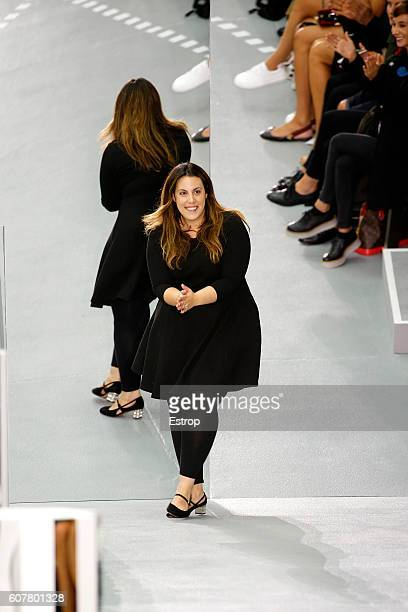 Designer Mary Katrantzou walks the runway at the Mary Katrantzou show during London Fashion Week Spring/Summer collections 2017 on September 18 2016...