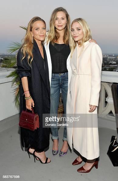 Designer MaryKate Olsen actress Elizabeth Olsen and designer Ashley Olsen attend Elizabeth and James Flagship Store Opening Celebration with InStyle...