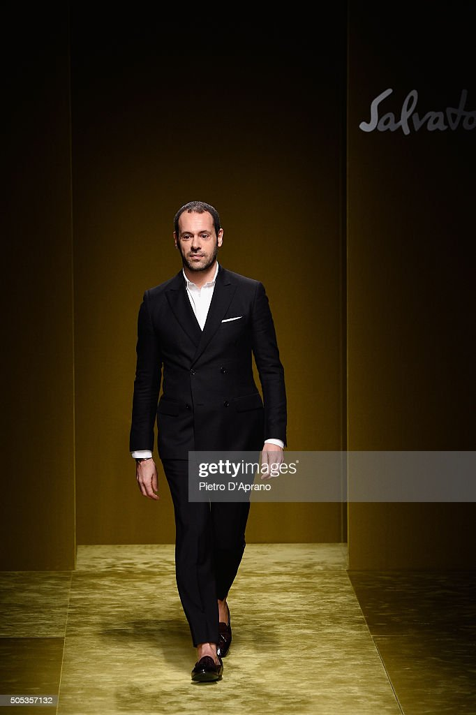 Designer <a gi-track='captionPersonalityLinkClicked' href=/galleries/search?phrase=Massimiliano+Giornetti&family=editorial&specificpeople=3951751 ng-click='$event.stopPropagation()'>Massimiliano Giornetti</a> walks the runway at the Salvatore Ferragamo show during Milan Men's Fashion Week Fall/Winter 2016/17 on January 17, 2016 in Milan, Italy.