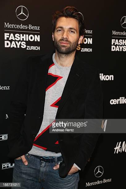 Designer Massimo Giorgetti of MSGM Di Massimo Giorgetti attends the first day of the MercedesBenz Fashion Days at Schiffbau on November 7 2012 in...