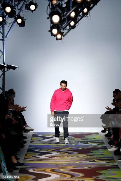 Designer Massimo Giorgetti walks the runway at the Emilio Pucci designed by Massimo Giorgetti show during Milan Fashion Week Fall/Winter 2017/18 on...
