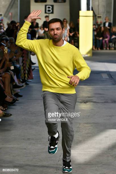 Designer Massimo Giorgetti walks the runway at the MSGM Ready to Wear Spring/Summer 2018 fashion show during Milan Fashion Week Spring/Summer 2018 on...