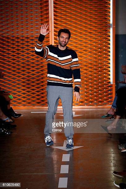Designer Massimo Giorgetti walks the runway at the MSGM show Milan Fashion Week Spring/Summer 2017 on September 25 2016 in Milan Italy