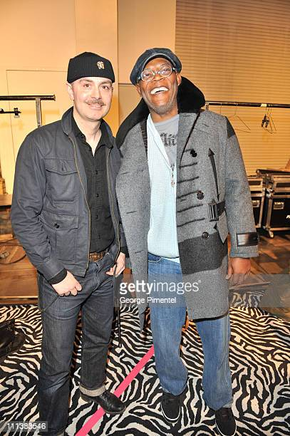 Designer Matt Robinson and actor Samuel L Jackson in the Hudson's Bay 8 point coat by Klaxton Howl backstage at the 2011 LG Toronto Fashion Week...