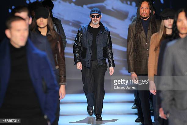 Designer Matt Robinson walks the runway during the Klaxon Howl fashion show at David Pecaut Square on March 25 2015 in Toronto Canada